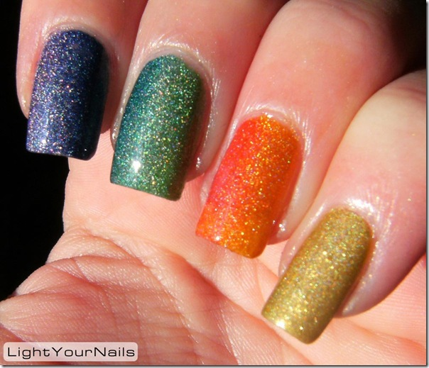Rainbow holographic gradient, China Glaze GR8, Catherine Arley 800, Catherine Arley 806, Sky Kisses 04 Jede, Astra holo 703, OPI DS Fantasy, Astra holo 708