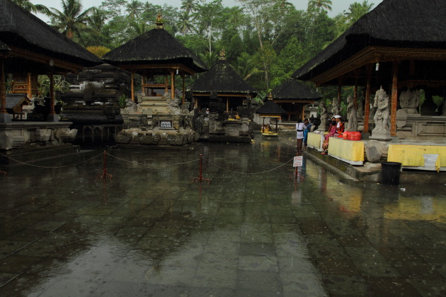 Rainy afternoon at Pura Tirtha Empul, Bali, Indonesia