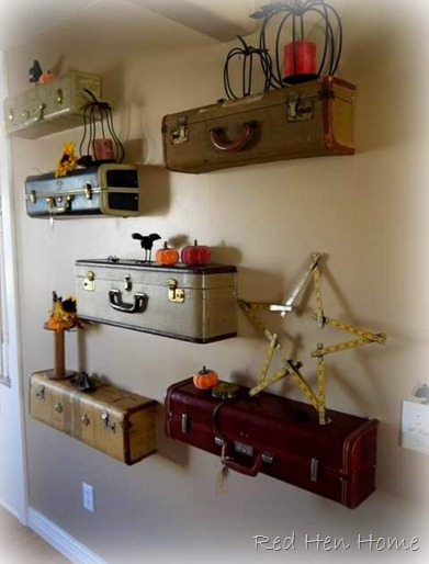 vintage suitcase shelves shelf