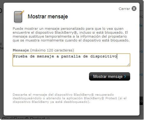 Mostrar mensaje en pantalla