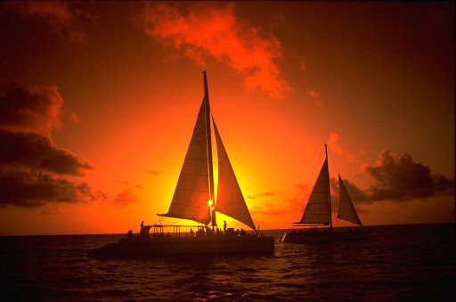 A sunset cruise in Aruba.