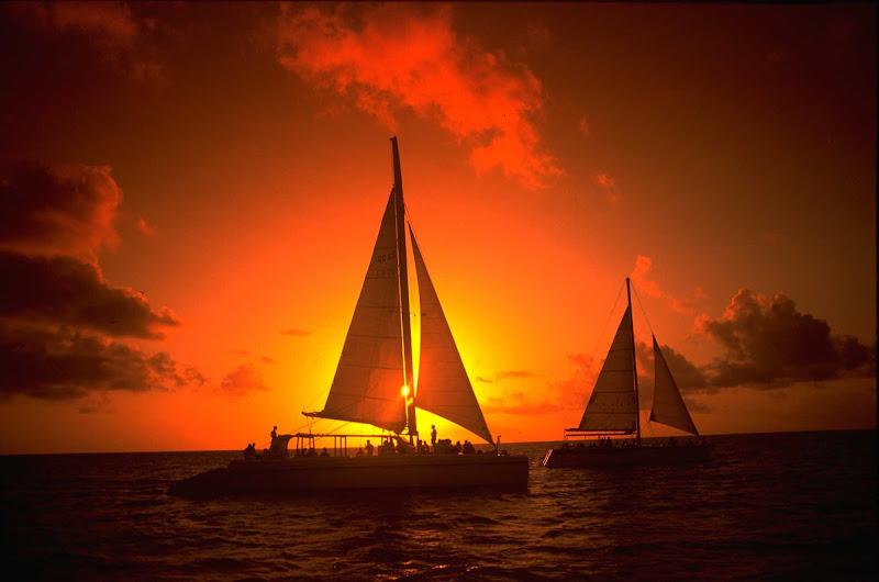 A sunset cruise in Aruba.