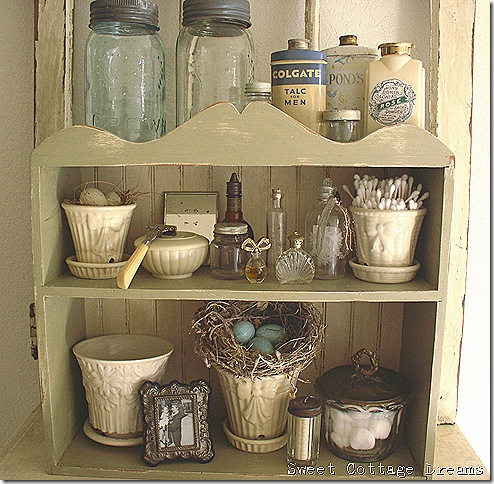 crown jars and shelf in bath