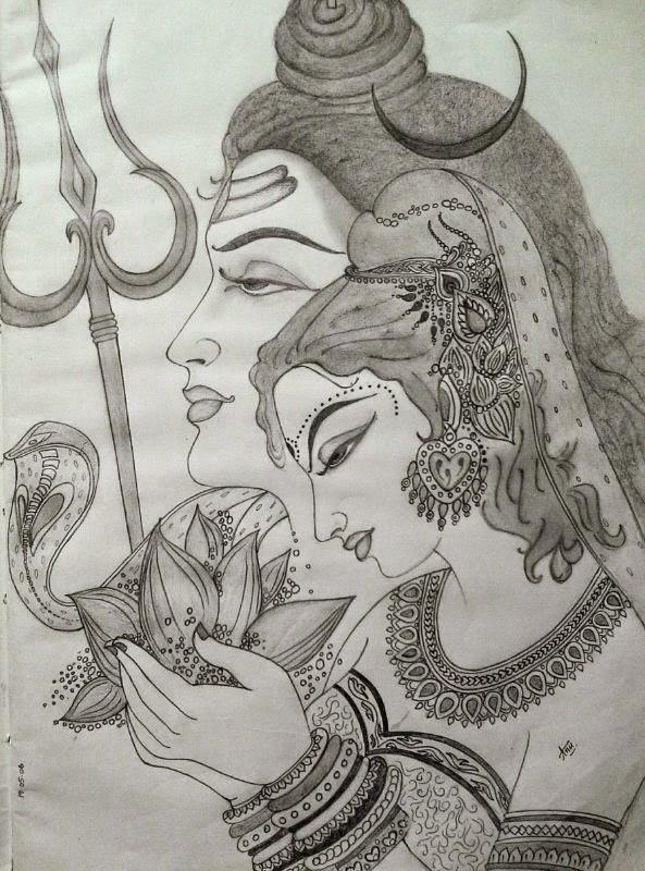 Pencil sketch of ardhanaareeshwara