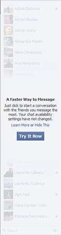 Try out Facebook Chat in the sidebar
