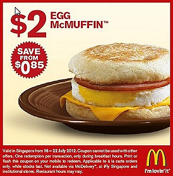 Mcdonalds Singapore $2 Offer Egg McMuffin chicken ham cheese sausage Double Cheese burger Chicken Nugget Curry sauce $3 McSpicy burger cheese Big Breakfast Hashbrown pancakes butter honey July promotion deals offers
