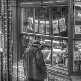 Window Shopping by Simon Sweetman - Black & White Street & Candid ( old, window, street, shopping, man,  )