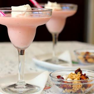 Simple Strawberry Peach Yogurt Smoothie..