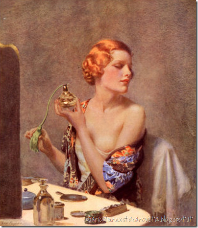 vintage-woman-spraying-perfume