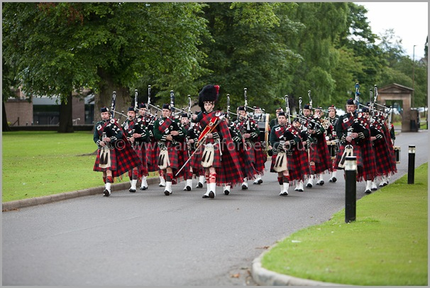 pipe band play at a scottish wedding