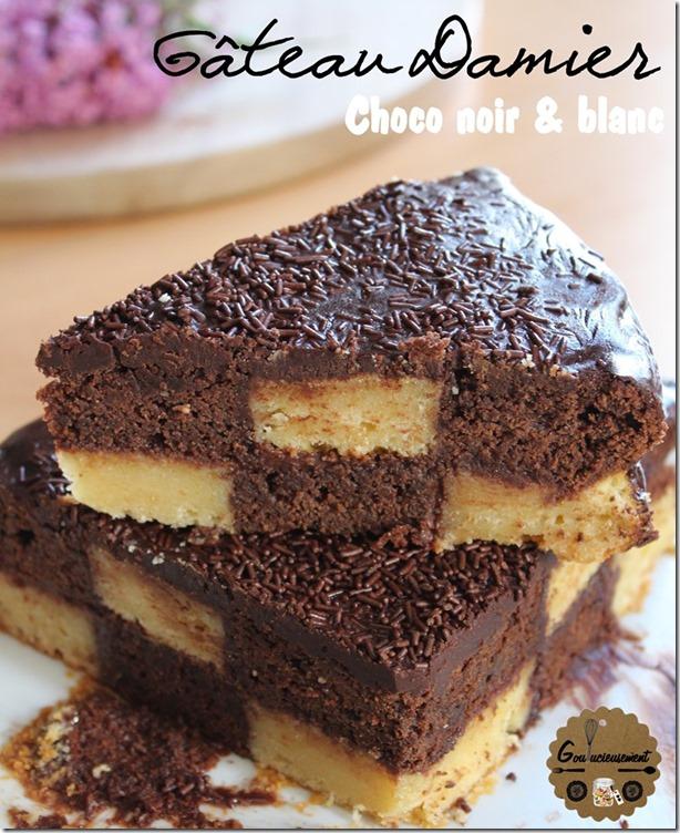 goulucieusement damier chocolat noir chocolat blanc nutella gla age chocolat noir g teau d. Black Bedroom Furniture Sets. Home Design Ideas