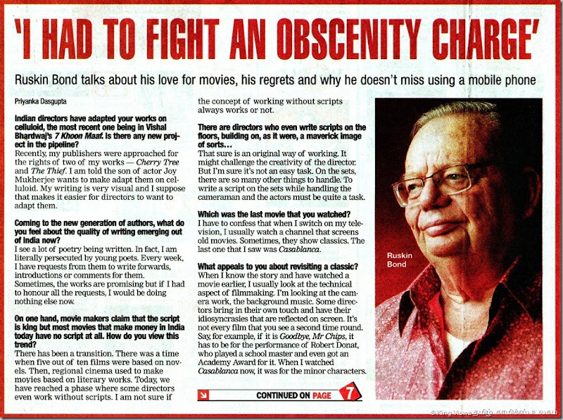 Times Of India English Daily Chennai Edition Supplement Chennai Times Page No 01 Ruskin Bond Interview