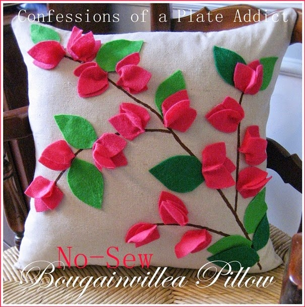 CONFESSIONS OF A PLATE ADDICT POTTERY BARN Inspired No-Sew Bougainvillea Pillow