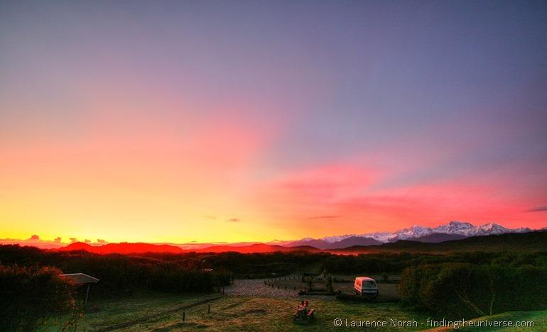 Sunrise campsite New Zealand_