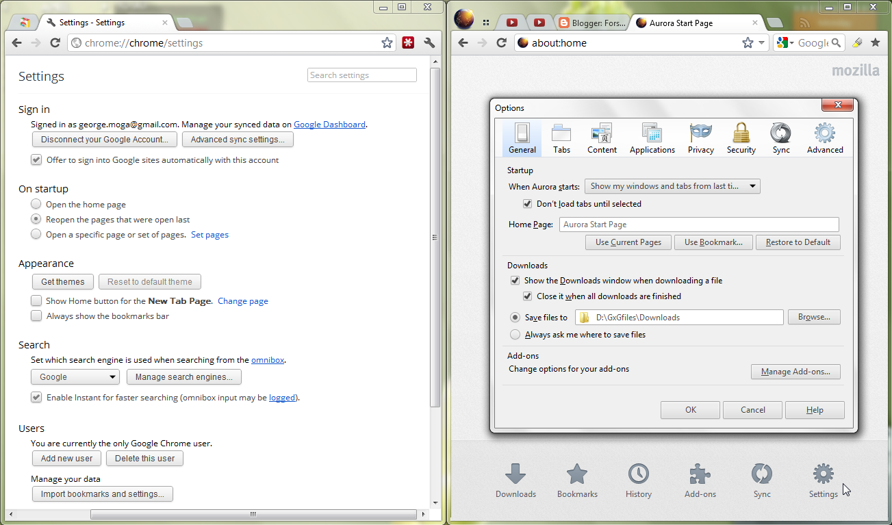 Chrome default vs. Firefox with FXChrome on Windows 7