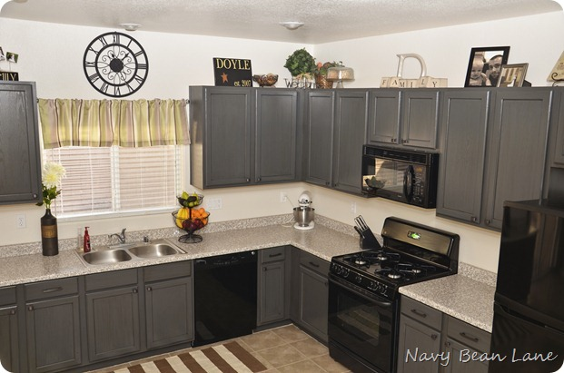 grey and black kitchen cabinets navy bean gray kitchen cabinets before amp after 16069