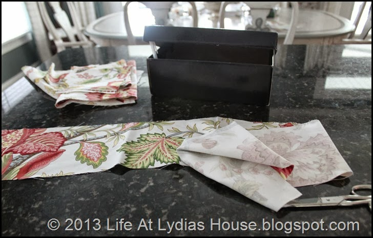 shoe box and fabric scraps