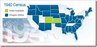 findmypast.com 1940年人口普查状态地图