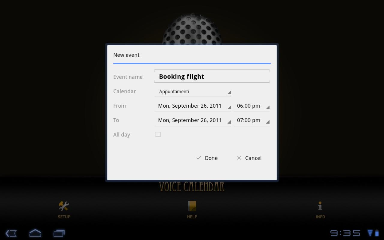 Voice Calendar - screenshot