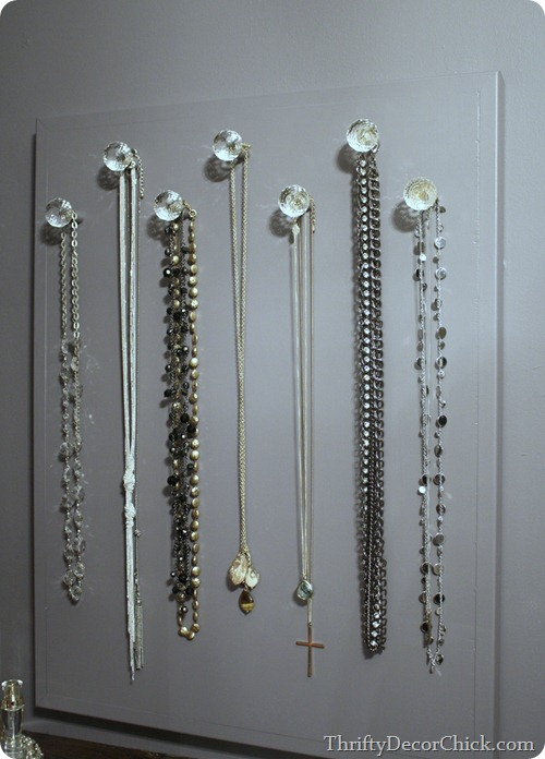 DIY necklace holder with knobs