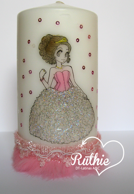Tutorial usando una estampa digital en una vela - Digi stamp on a candle - Latinas Arts and Crafts - Ruthie Lopez DT 9