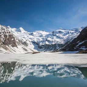 Val Roseg by Ennio Pozzetti - Landscapes Mountains & Hills ( val roseg, water, mountains, reflections, switzerland, lake )
