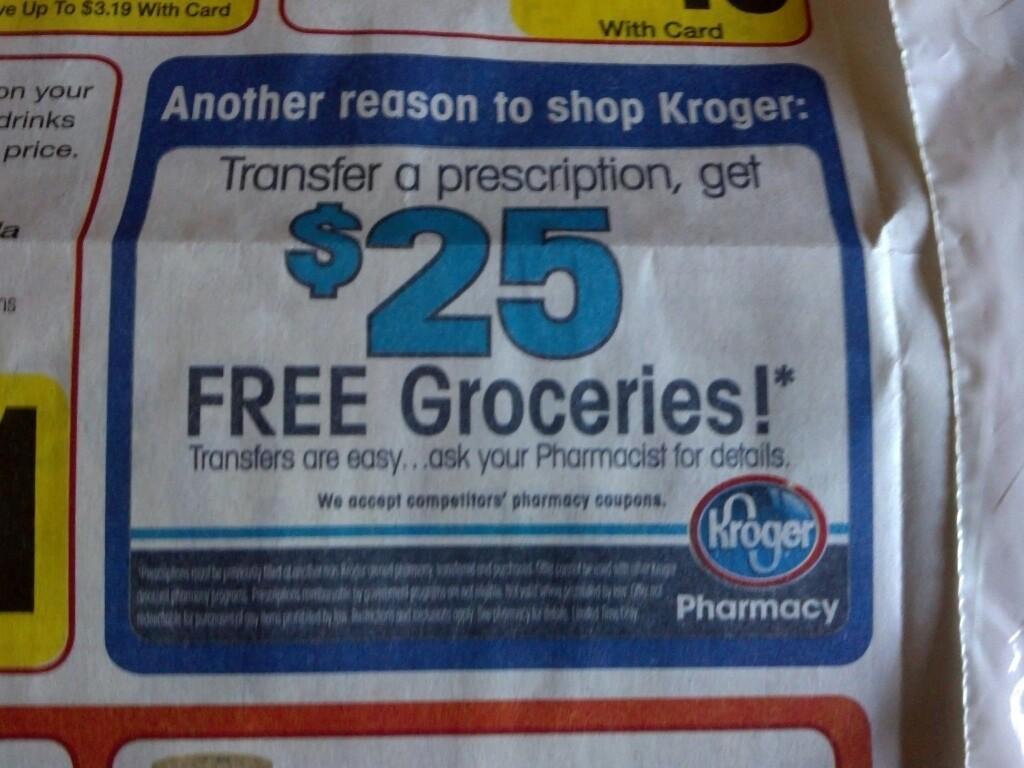 Kroger $25 prescription transfer coupon / Wcco dining out deals
