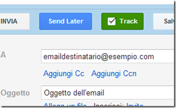 Right Inbox  pulsanti Send Later e Track