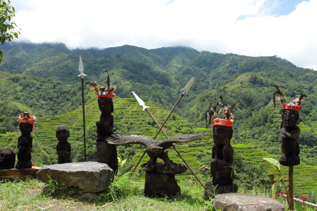 Ifugao sculptures near the Banaue Rice Terraces, Philippines
