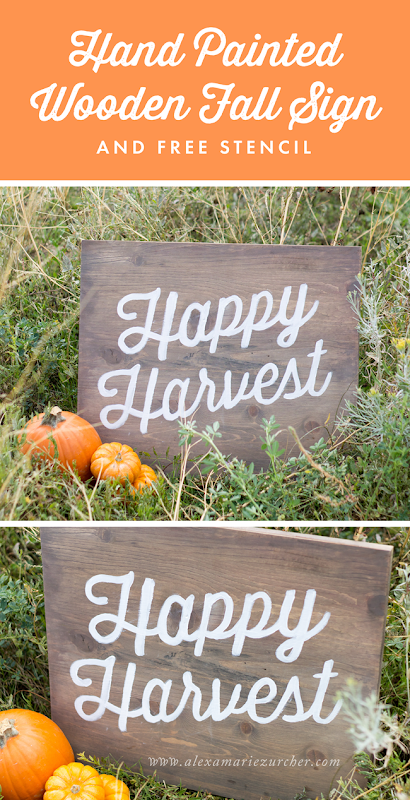 Hand Painted Wooden Fall Sign DIY and Tutorial, DIY Halloween Sign and Free Stencil at www.alexamariezurcher.com