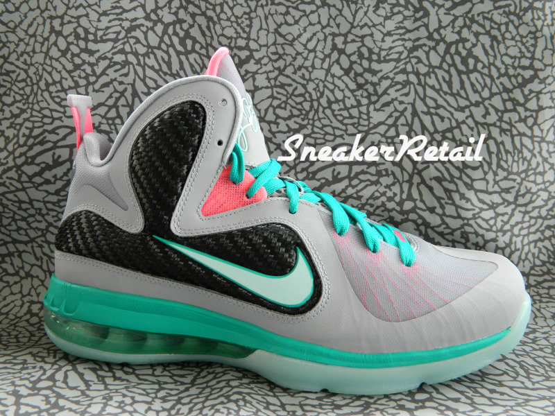 buy popular aa5f9 c5046 ... Detailed Look at Kids8217 Nike LeBron 9 GS 8220Miami Vice8221 ...