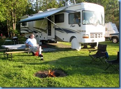 6559 Sleepy Cedars Campground Greely Ottawa - Bill relaxing at campfire