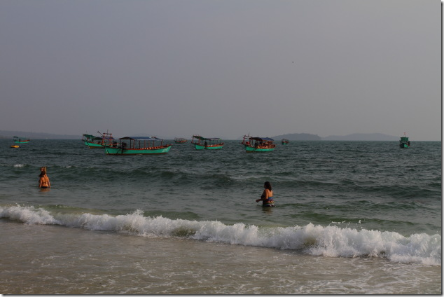 Boats moored at Sihanoukville's Serendipity Beach