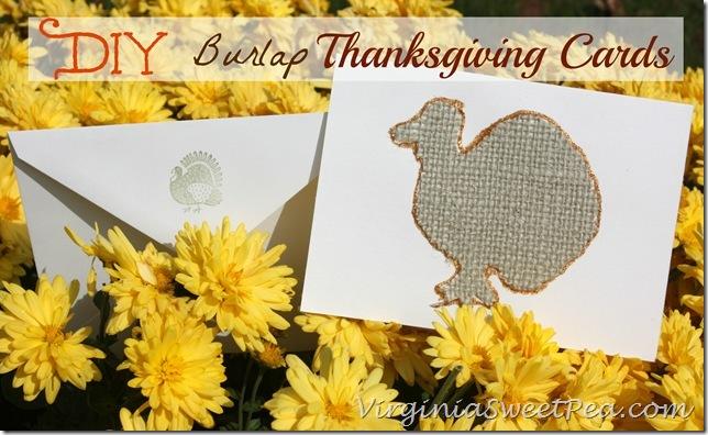DIY Burlap Thanksgiving Cards