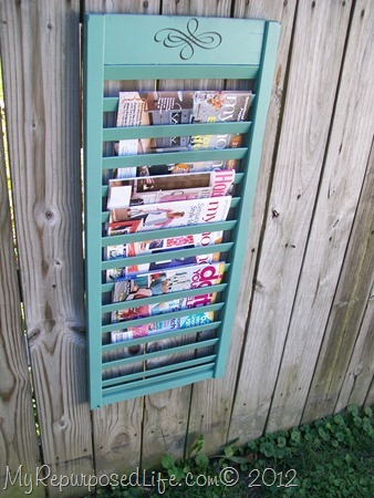 repurposed shutter {magazine rack}