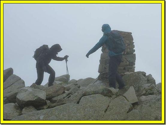 Windy on the summit of Carnedd Moel Siabod