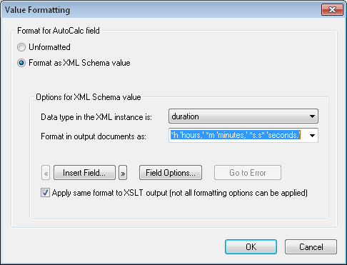 StyleVision Value Formatting dialog for AutoCalc result
