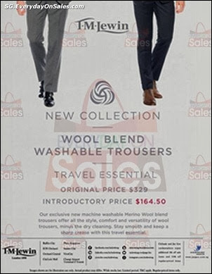 d97f9074ae3edb 27 Dec 2013 onwards  T.M. Lewin Washable Merino Wool Trousers Introductory  Price Promotion