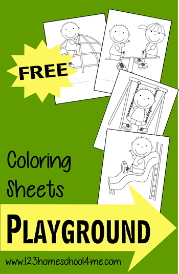 FREE Playground coloring pages! These are super cute and perfect for a grab-and-go summer activity for kids. I use them for appointments, restaurants, and rainy days!