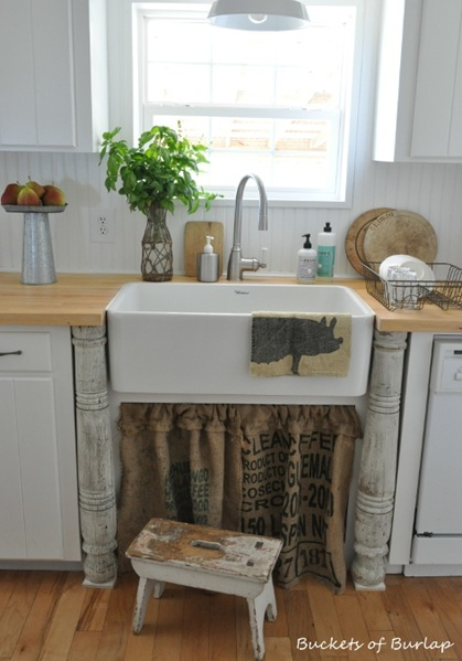 fall kitchen burlap sink skirt