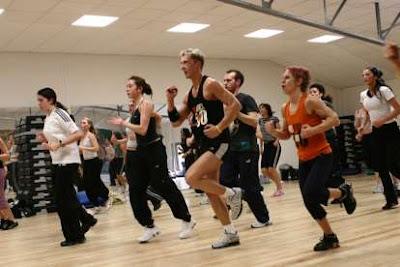 Doing aerobics