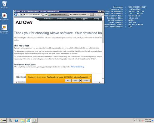 Running the FlowForce Server installer on a cloud server