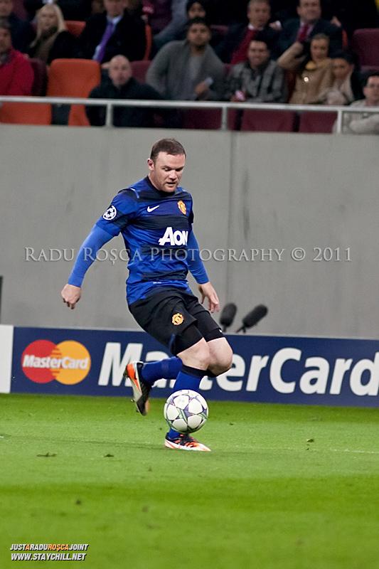 Wayne Rooney in timpul meciului dintre FC Otelul Galati si Manchester United din cadrul UEFA Champions League disputat marti, 18 octombrie 2011 pe Arena Nationala din Bucuresti.