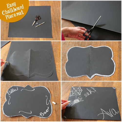 chalkboard placemat from black poster board