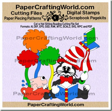 cat w hat sitting-reading papered-cf-350