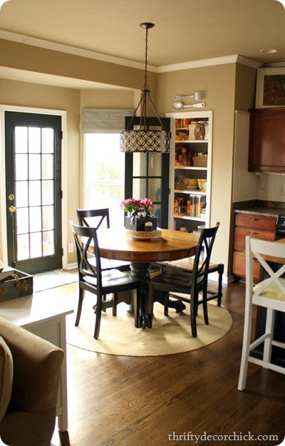 Ikea table turned farmhouse table from thrifty decor chick round table kitchen workwithnaturefo