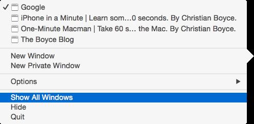 Show all windows Mac OS Dock