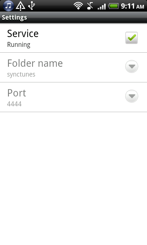 iTunes to android Sync tunes - screenshot
