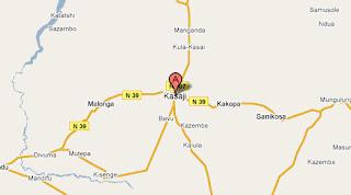 Carte de Kasaji au Katanga