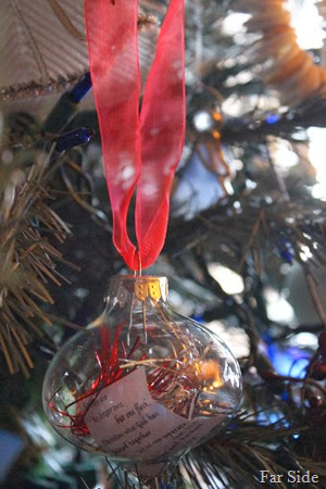 The Rachael and Chad ornament